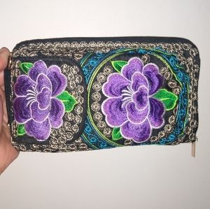 BOHO Mexican Embroidered Purple Floral Wallet